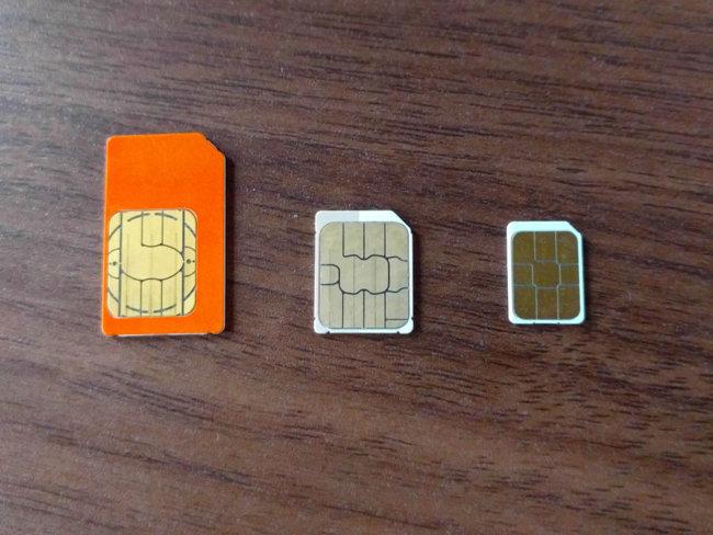 SIMカードのサイズの種類